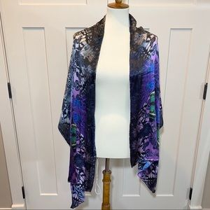 Ted Baker Silk Rectangle Shawl Scarf Butterly